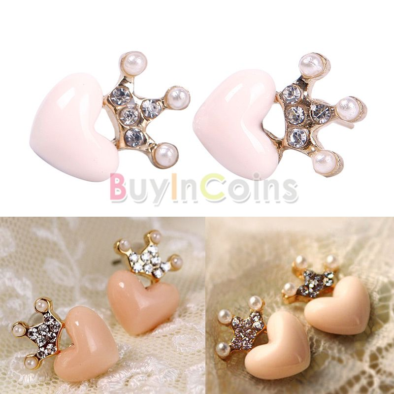New 1 Pair Lovely Crown Peach Heart Shiny Crystal Earring Ear stud Jewelry Gift фото