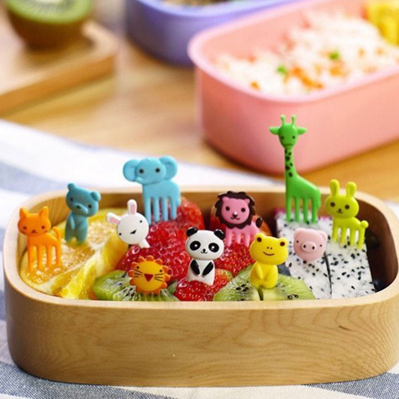 10pcs Bento Kawaii Animal Food Fruit Picks Forks Lunch Box Accessory Decor Tool