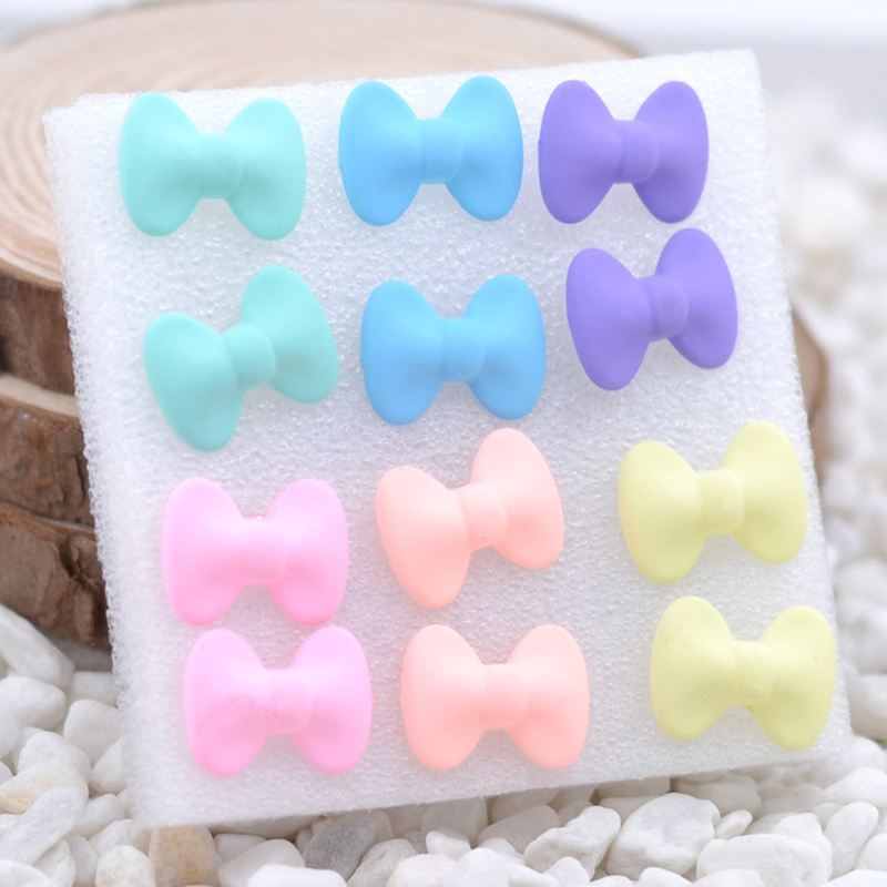 6 Pairs/Set Colorful Resin Ear Stud Star Heart Round Square Mustache Bow Earrings Women Girl Fashion Jewelry