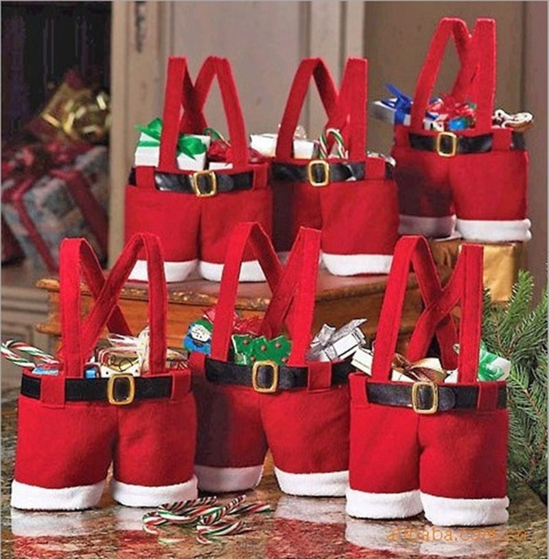 Christmas Red Pants Design Candy Sweet Bag Trick-or-treat Bags XMAS Satchel Mini Wedding Gift Bags
