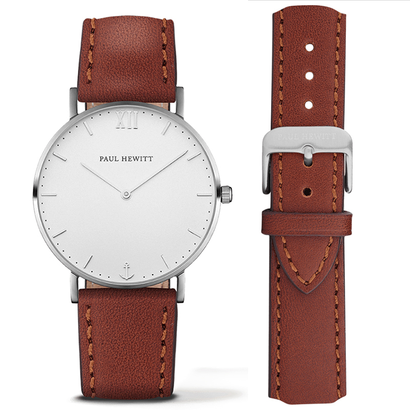 Casual Women Men PAUL HEWITT Brand Simple Quartz Analog Watch Silver Gold Leather Band Wrist Watches фото