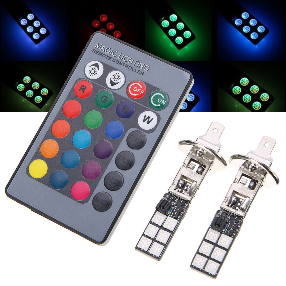 Colorful H1 5050 12SMD RGB LED Car Headlight Fog Light Lamp With Remote Control