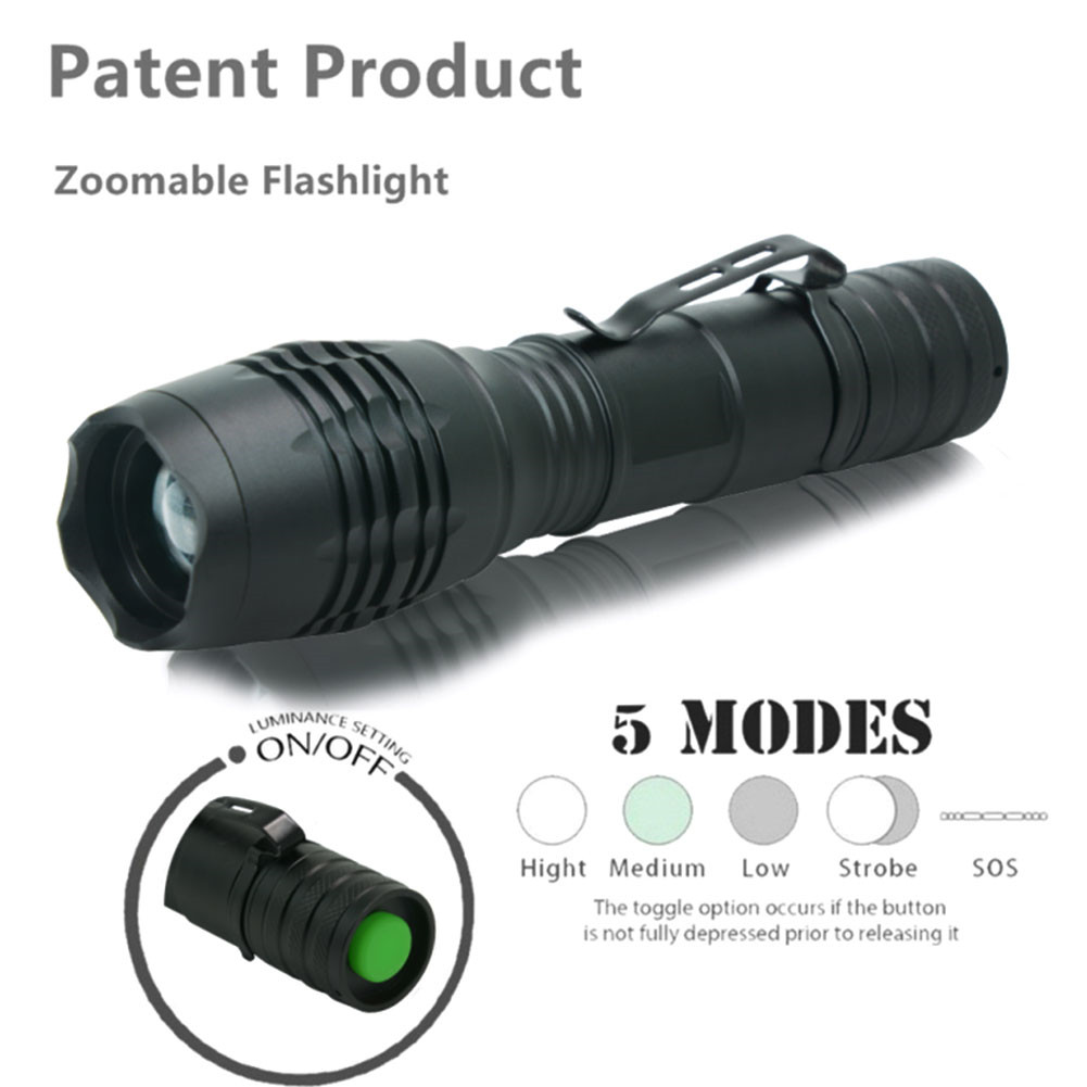 High Power XML-T6 5 Modes 10000 Lumens LED Flashlight Waterproof Zoomable Torch lights
