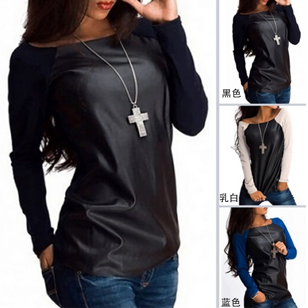 Fashion Women Casual Leather Blouse Ladies Shirts Tops
