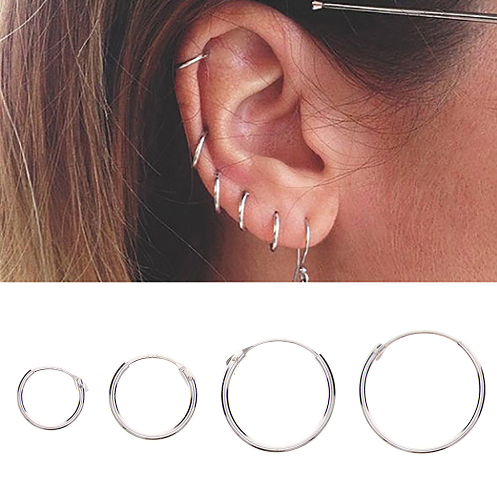 Fashion 925 Sterling Silver Circle Round Ear Hoop Earrings Anti Allergy Womens Mens Fashion Jewelry Gift