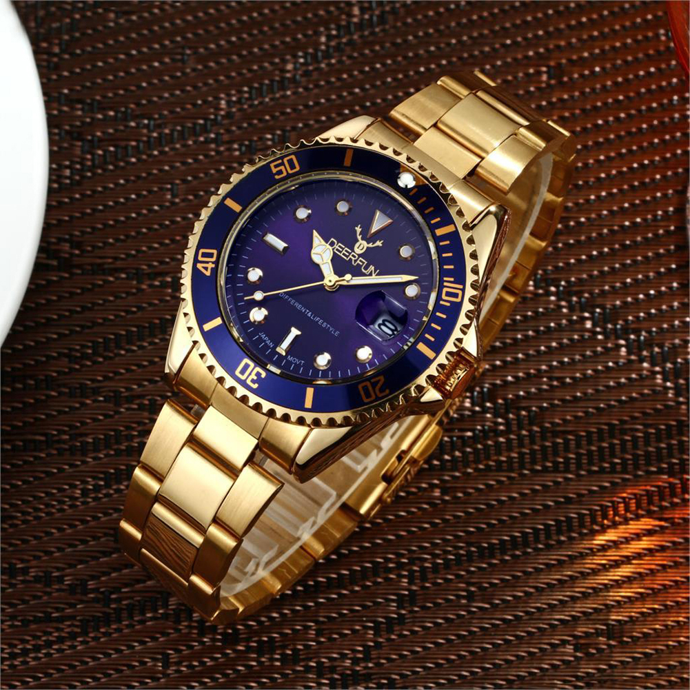 Man's Stainless Steel Sport Quartz Watch Waterproof Calendar Business Wristwatch