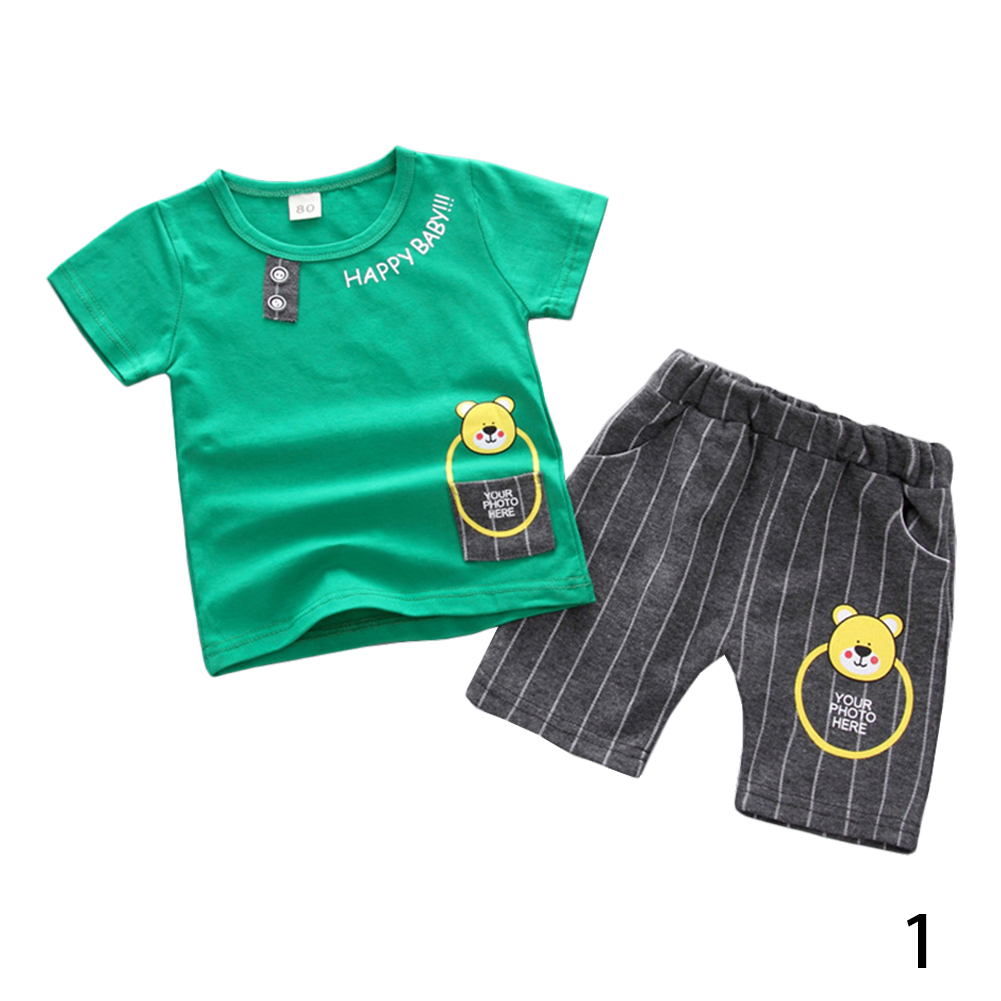 Fashion Infant Baby Boy Girl Cartoon Clothes Sets Kids Tops Boy Clothing Suit фото
