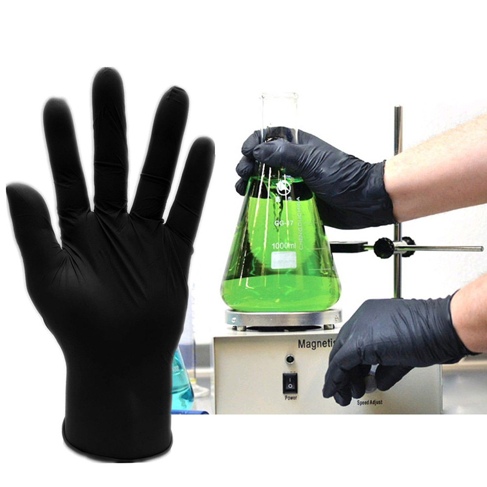 Comfortable Rubber Disposable Mechanic Laboratory Safety Work Nitrile Gloves Black