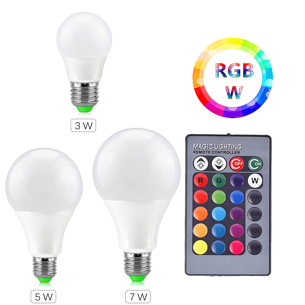 E27 RGB Colorful LED Bulb Crystal Ball Light IR Controller Effective Dimmable 5W