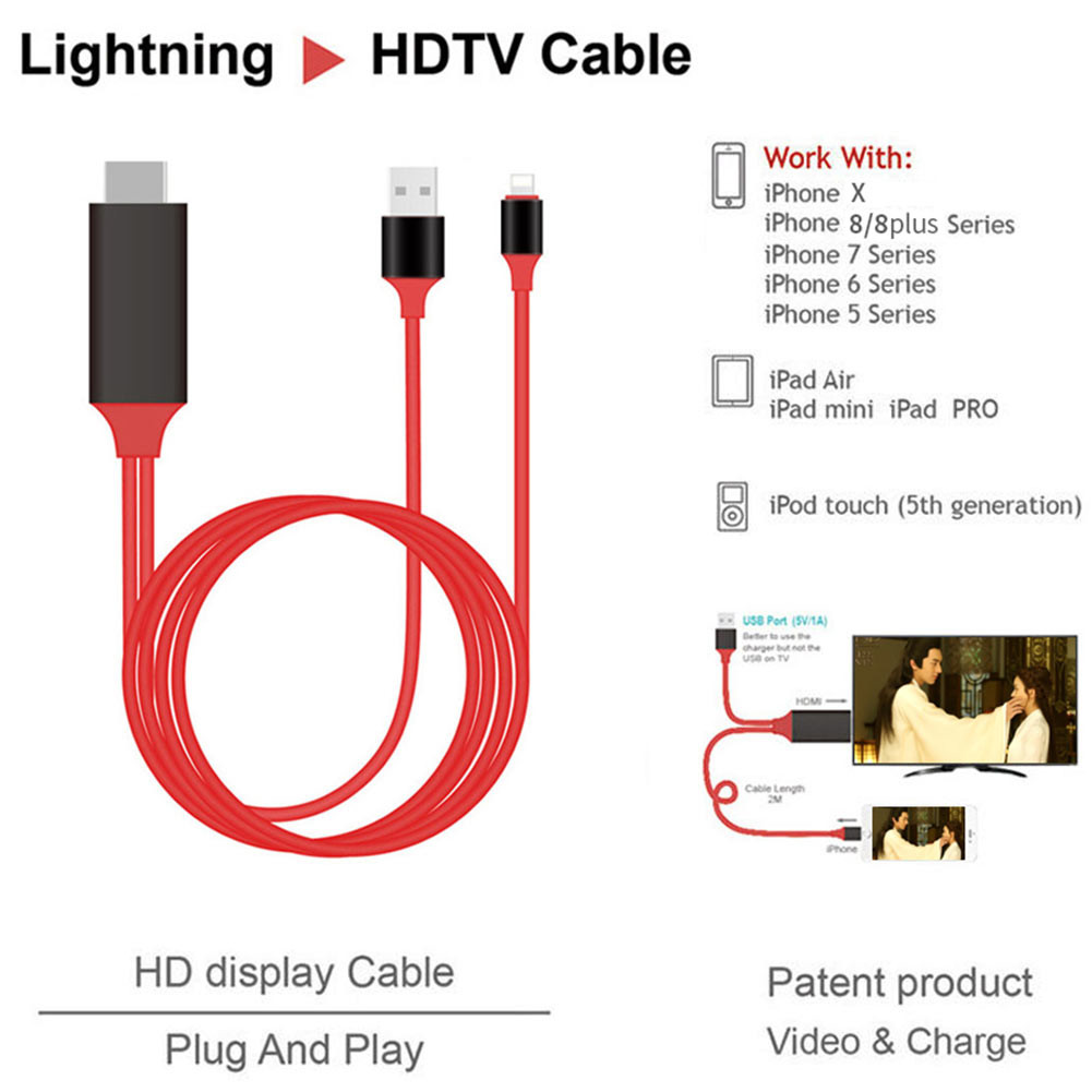 HDMI 2M Cable For Apple iPhone XS XS MAX XR X 8 8 plus 7 7 Plus 6 6s 5 5s 5S For Lighting Cable Adapter HDTV TV 8 Pin HD1080P Adapter HDMI
