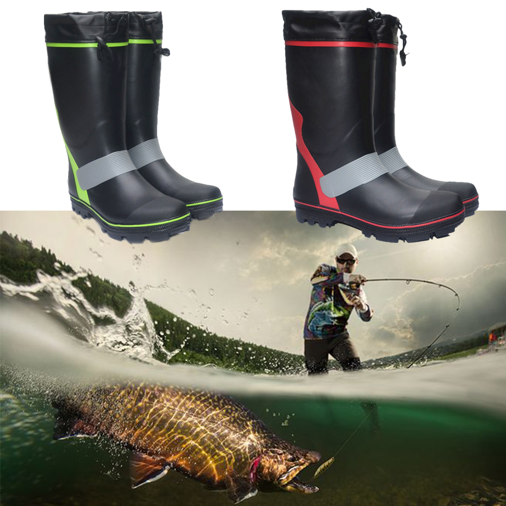 High Fishing Rain Waterproof Boots Non-slip Wellies Rocky fishing Shoes Industrial Rubber Boot With Steel Nail Fashionable Snowshoes