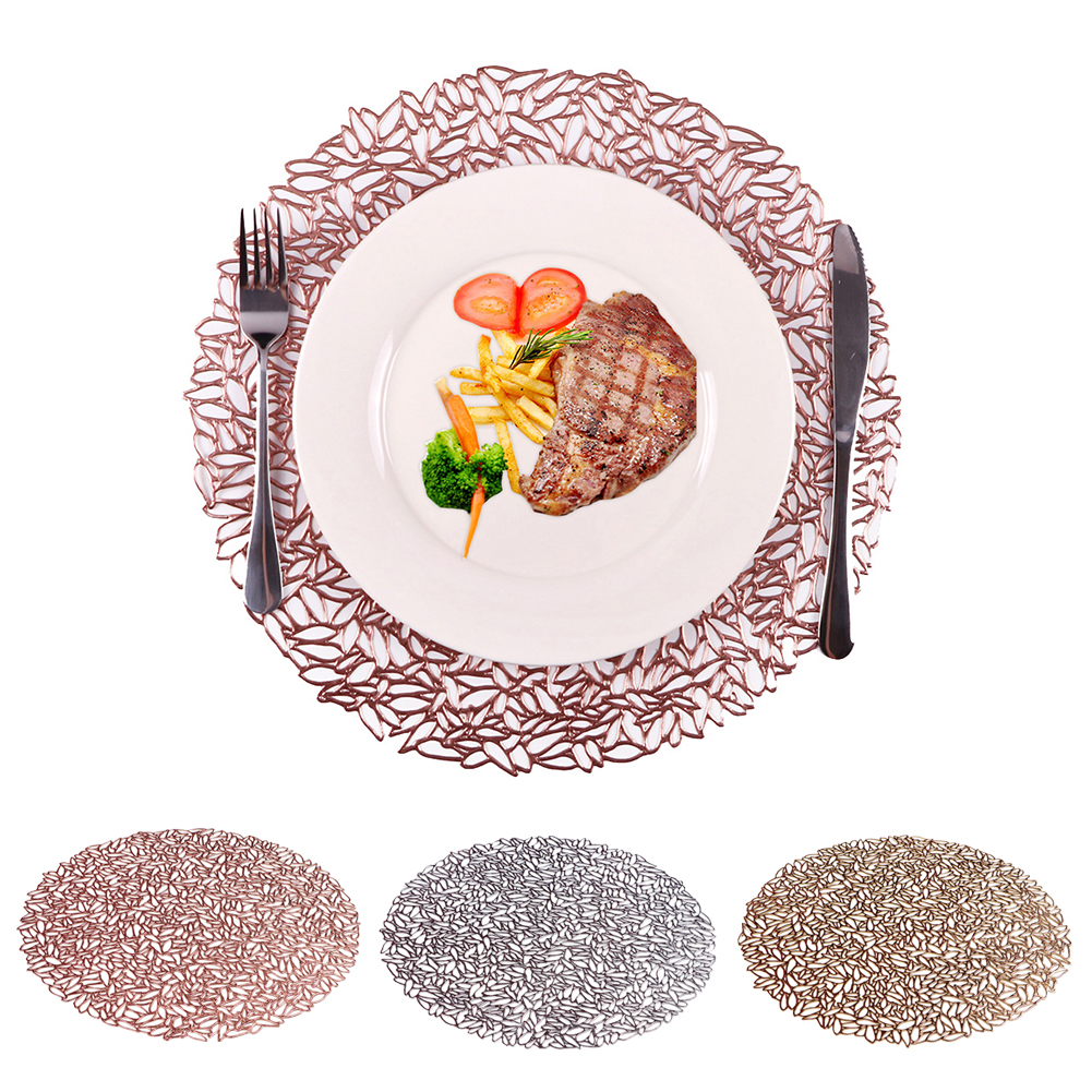 PVC Round Hollow Out Plate Coaster Heat Insulated Plate Mat Wedding Party Dinning Table Decoration Tableware Pads Accessories