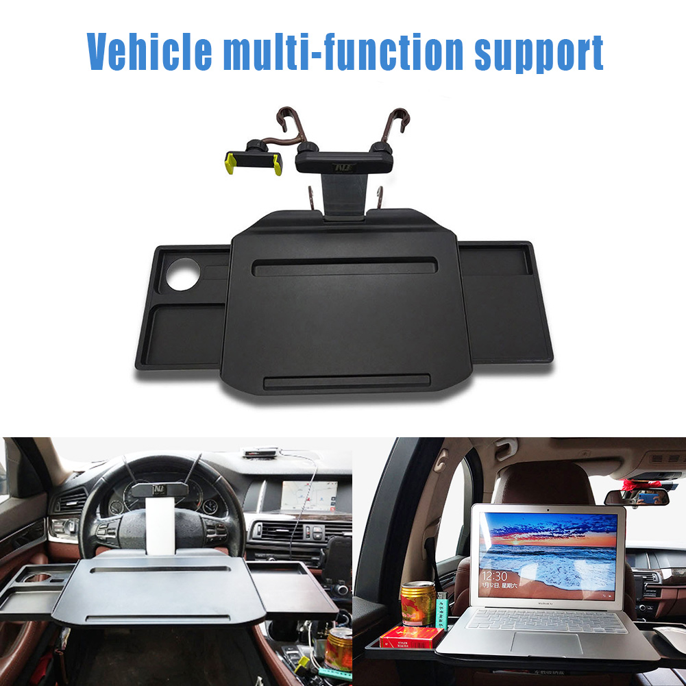 Car Laptop Mount Eating Desk Foldable Extendable Hidden Drawers Multi-Functional Tablet with Phone Holder Fits Most Vehicles Steering Wheel & Backseat for Travel Dining Studying