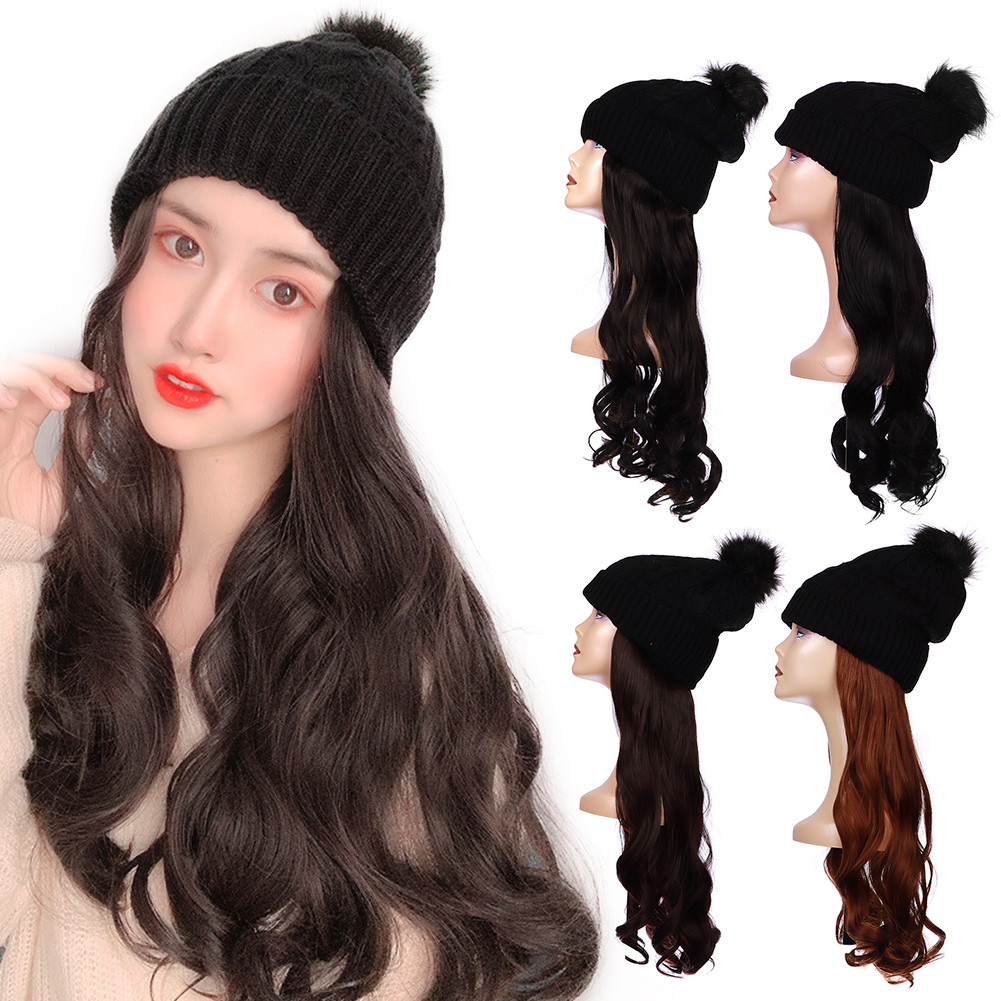 Fashion New Long Curly Wig Elastic Knit Hat Wigs Heat Resistant Synthetic Natural Fake Hair Wigs
