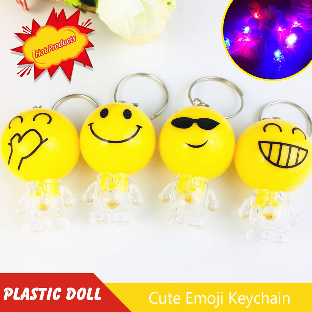 Cute Emoji Expressions Figures Toys with Light Keychain Decoration LED Pendant Gifts