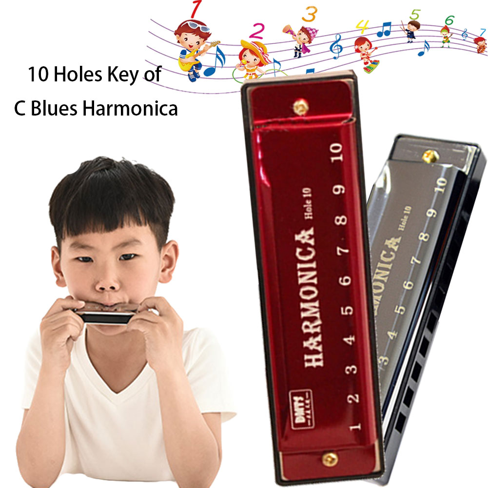 10 Holes Harmonica C Key Blues Metal Harmonica Musical Instrument Educational Toy with Case for Kids Beginners
