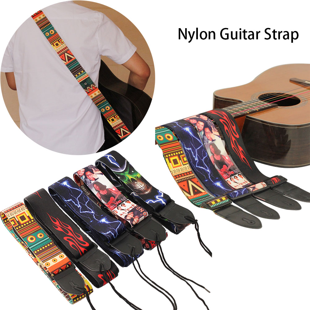 Nylon Guitar Strap for Acoustic Electric Guitar and Bass Multi-Color Guitar Belt Adjustable Colorful Printing Nylon Straps