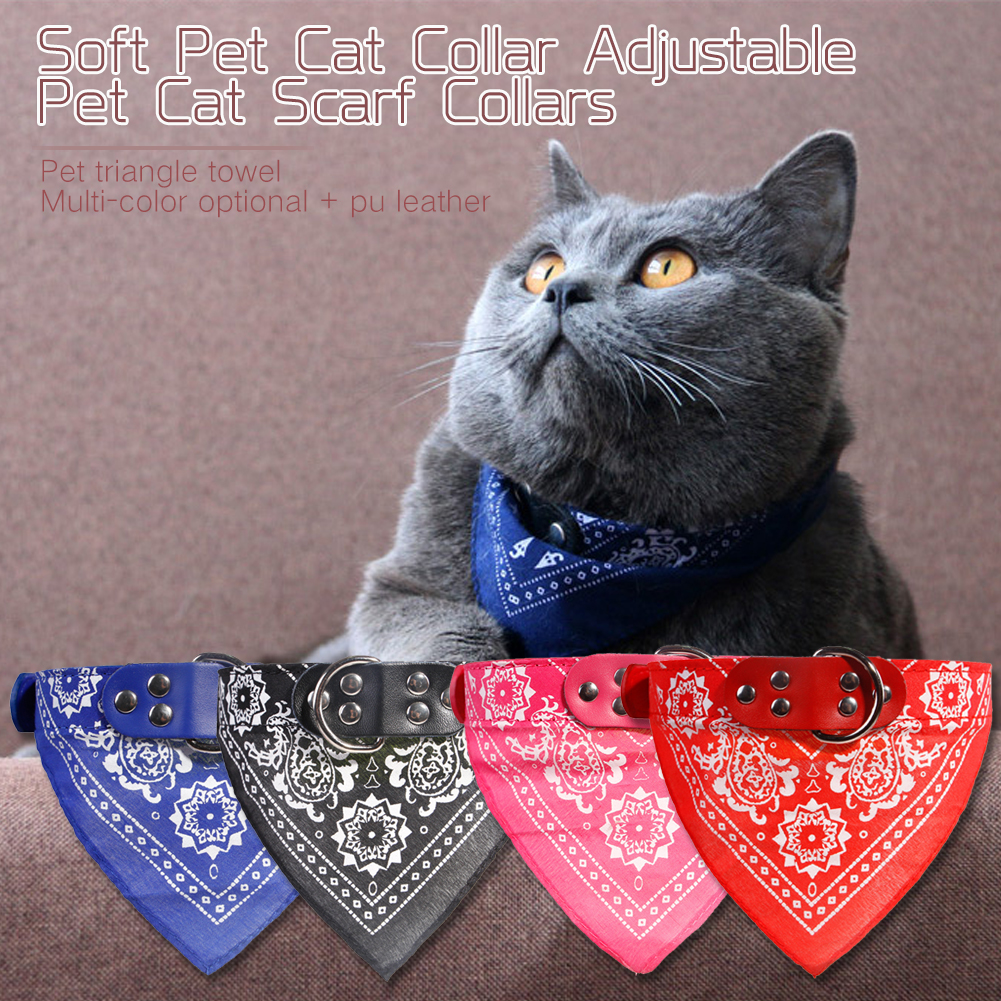 Adjustable Pet Cat Soft Scarf Collars Neckerchief Necklace trigon Pet accessories Adjustable Small Dog Scarf