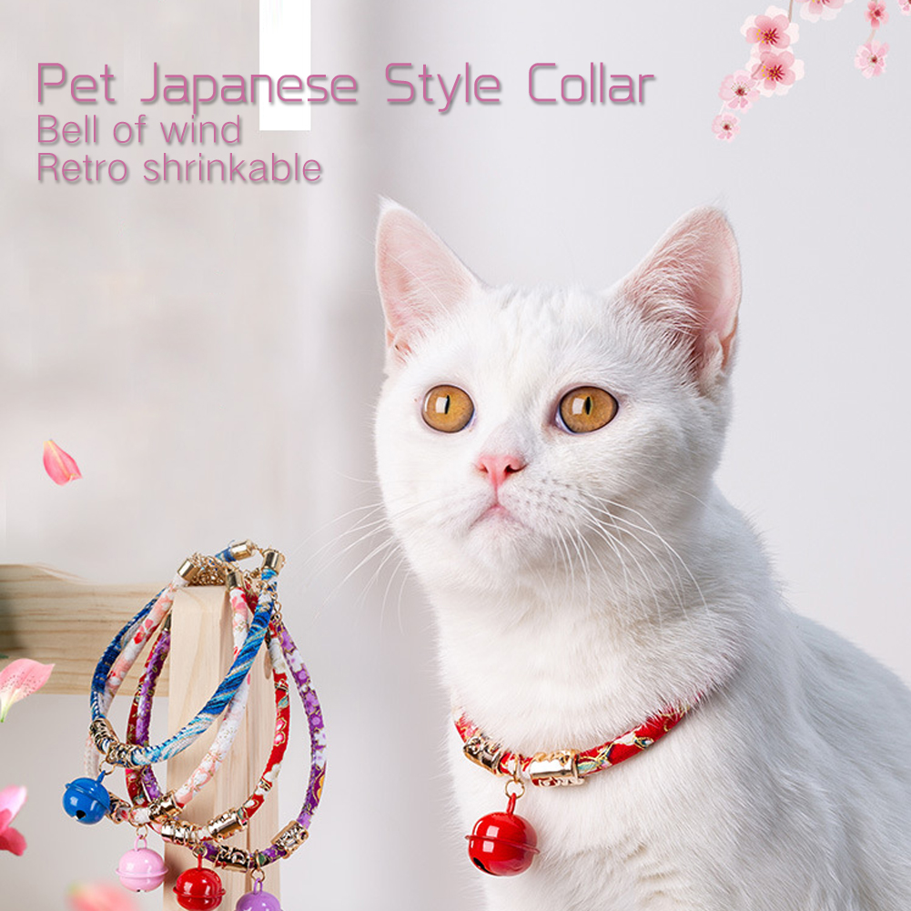 Adjustable Japanese Pet Collar Retro-Style Cat Neck Ring Pet Cat Dog Accessories With Bell