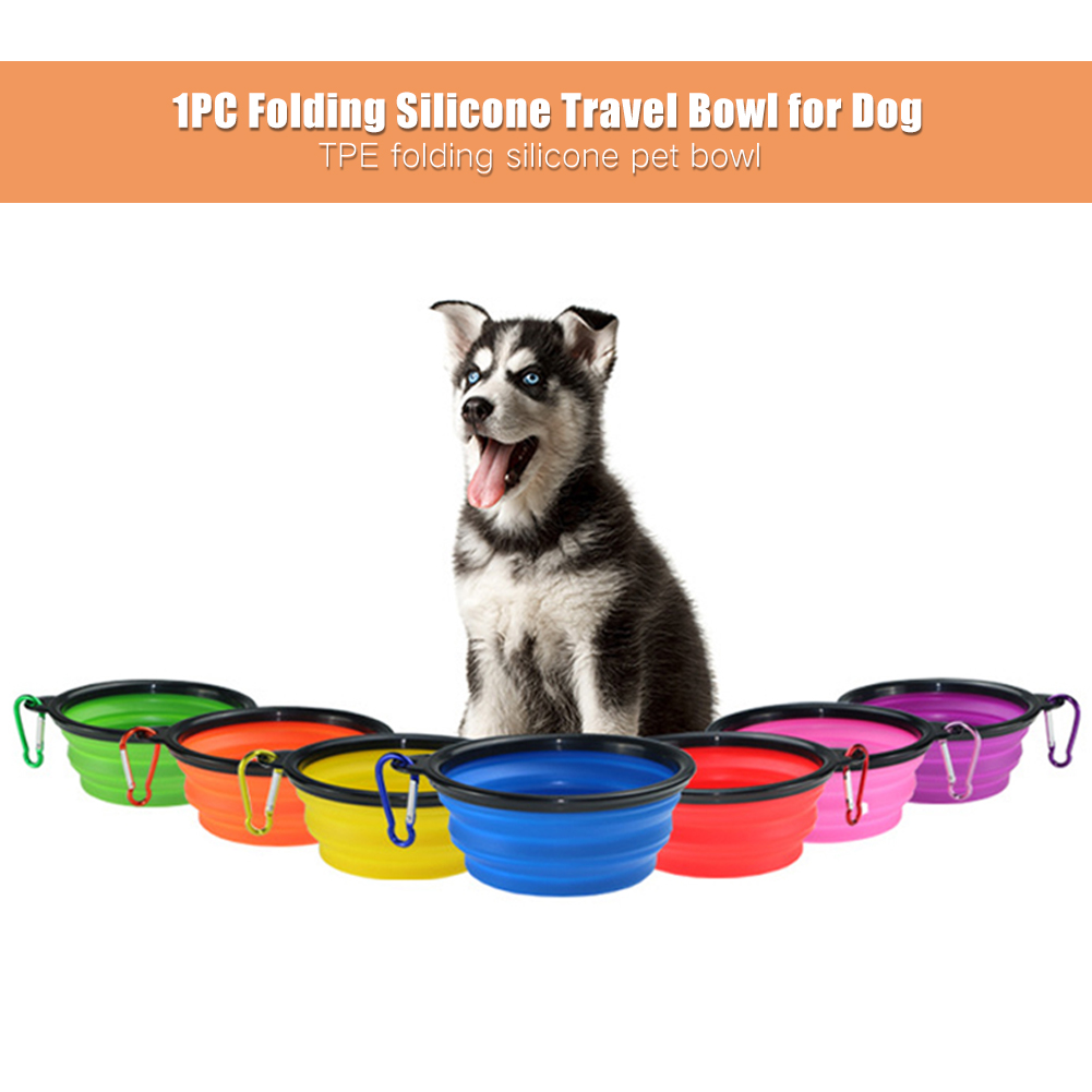 Foldable Silicone Pet Dog Bowl Candy Color Outdoor Travel Portable Puppy Food Container