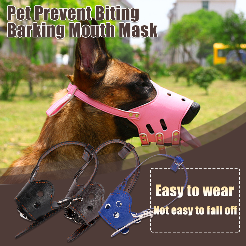 Adjustable Breathable Mask PU Leather Pet Dog Anti Bark Chew Safety for Dogs Mouth Training