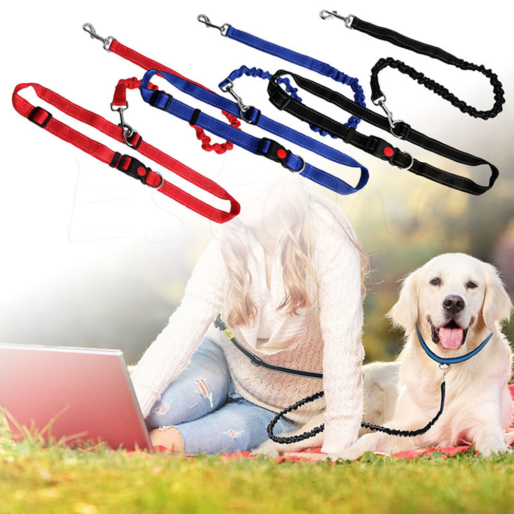 Pet Jogging Leash Elasticity Hand Freely Pet Products Dogs Harness Collar Jogging Lead and Adjustable Waist Rope