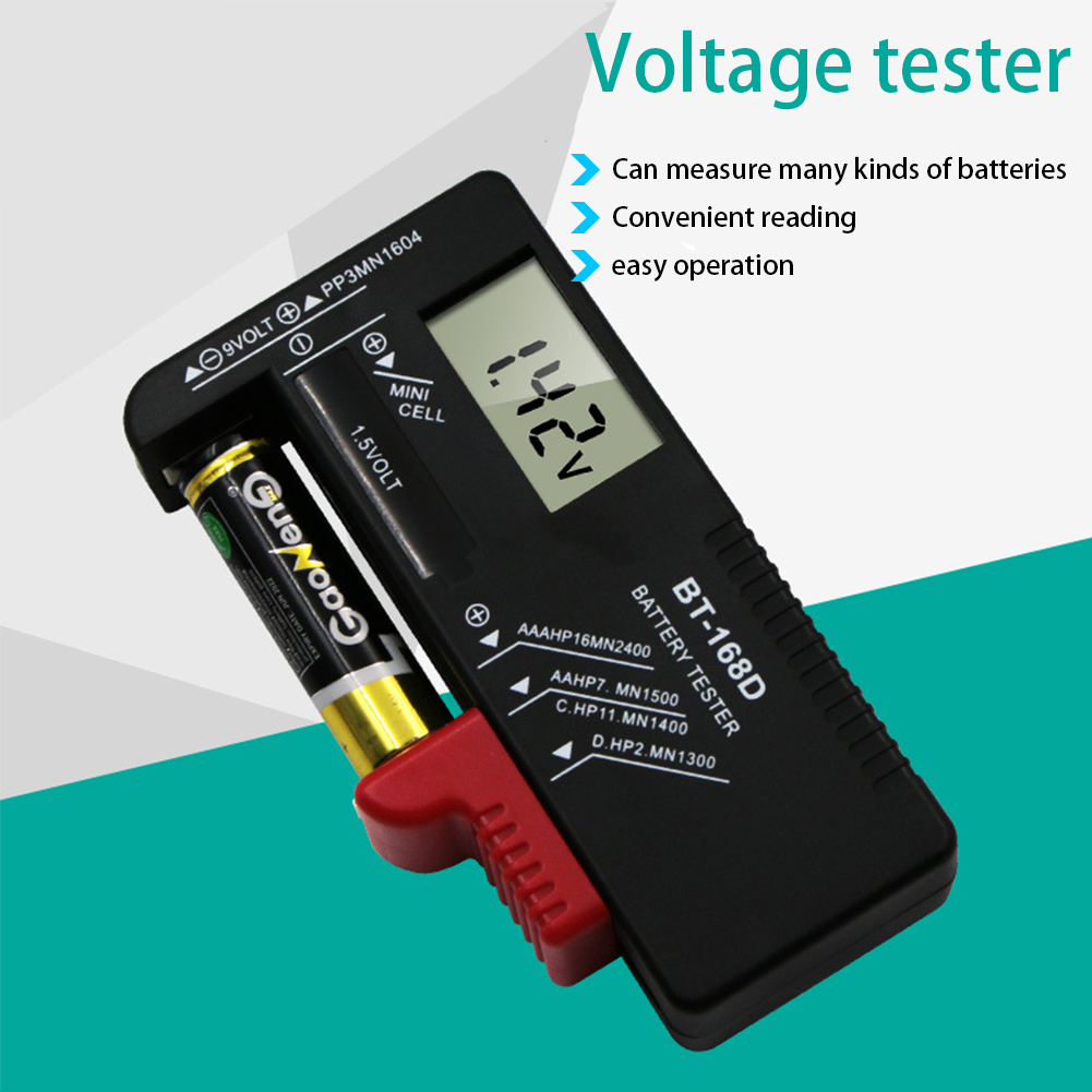 Universal BT168 Digital Battery Tester Volt Checker for AA AAA 9V Button Multiple Size Battery Tester Voltage Meter Tools BT-168