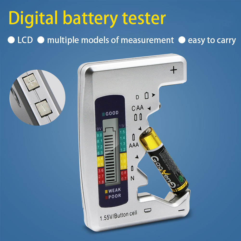 Universal Battery Tester AA/AAA 9V 1.5V Button Cell Battery Volt Tester Measuring Instruments Battery Diagnostic Tool