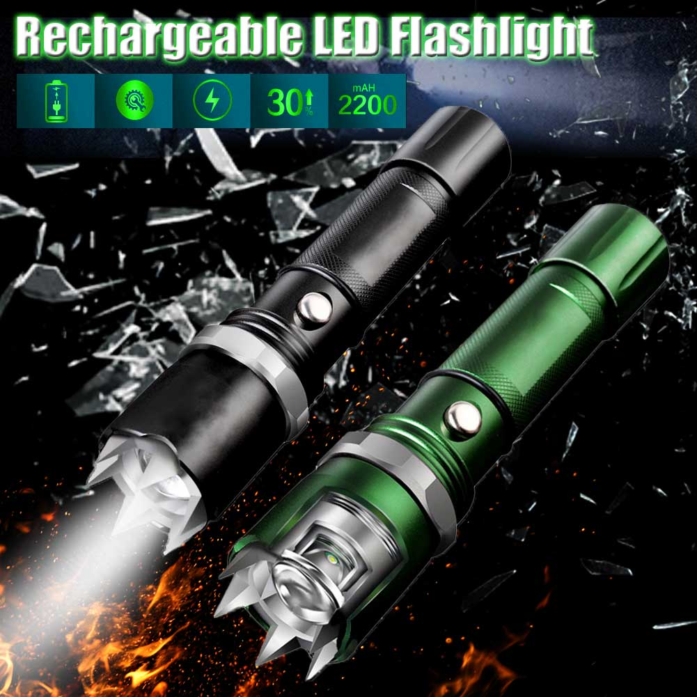 Multifunctional Tactical Fashlight Rechargeable Waterproof Zoomable Outdoor Camping Hiking Electric Torch Front Light for Mountain Bike Bicycle