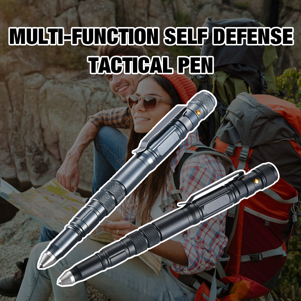 Outdoor Self Defense Tactical Pen with LED Light Emergency Glass Breaker Outdoor Survival EDC Tool Camping Tools