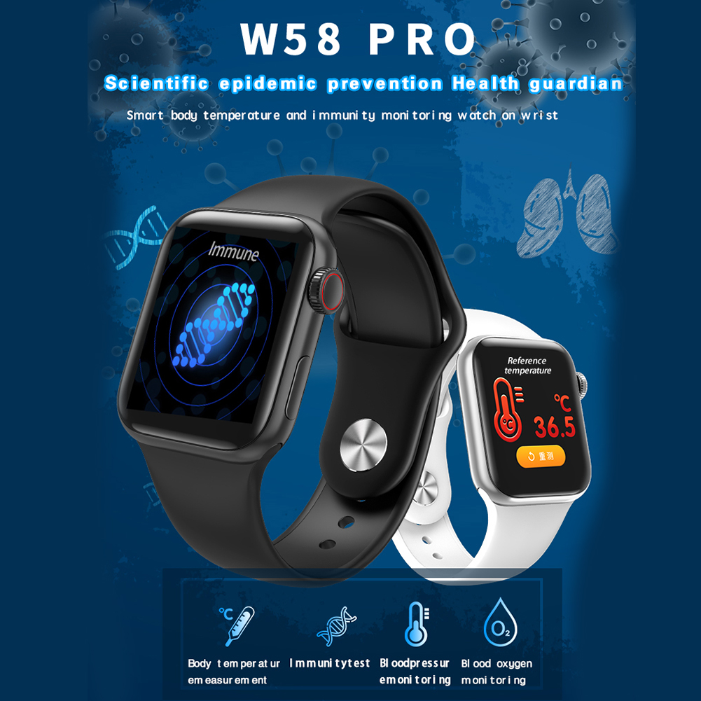 W58 pro Bluetooth Smart Watch Full Touch Screen Body temperature test Heart Rate Blood Pressure Fitness Bracelet