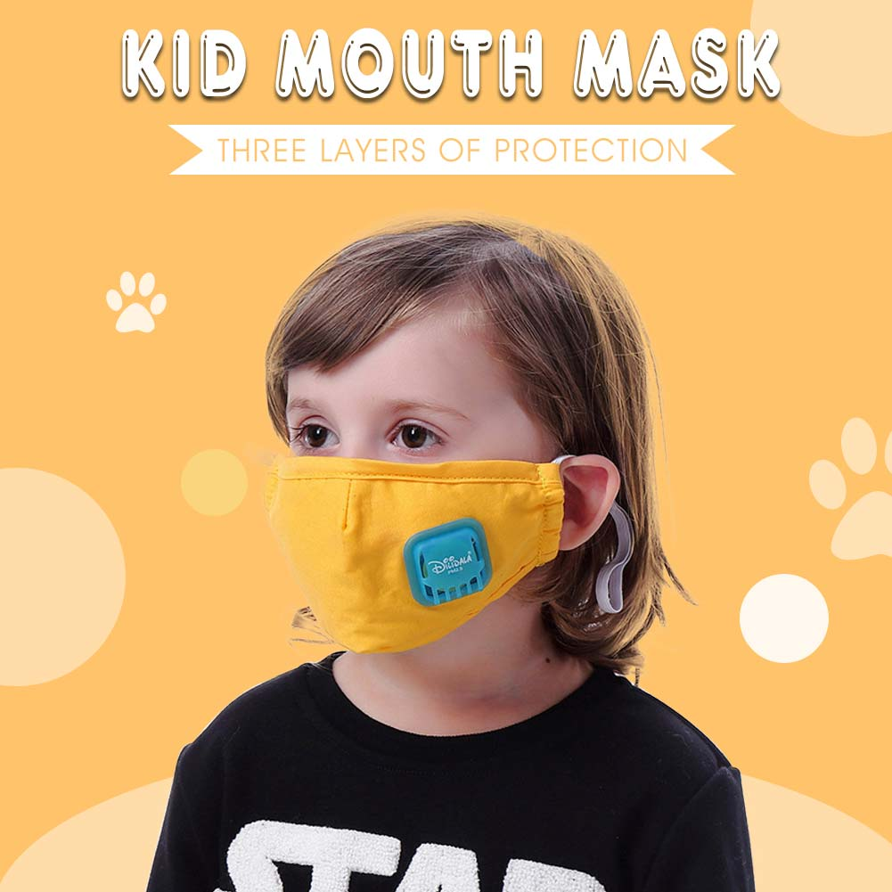 Kids PM2.5 Cotton Mouth Mask with Breath Valve Children Anti-Dust Anti Pollution 3 Layers Mask with Activated Carbon Filter Respirator