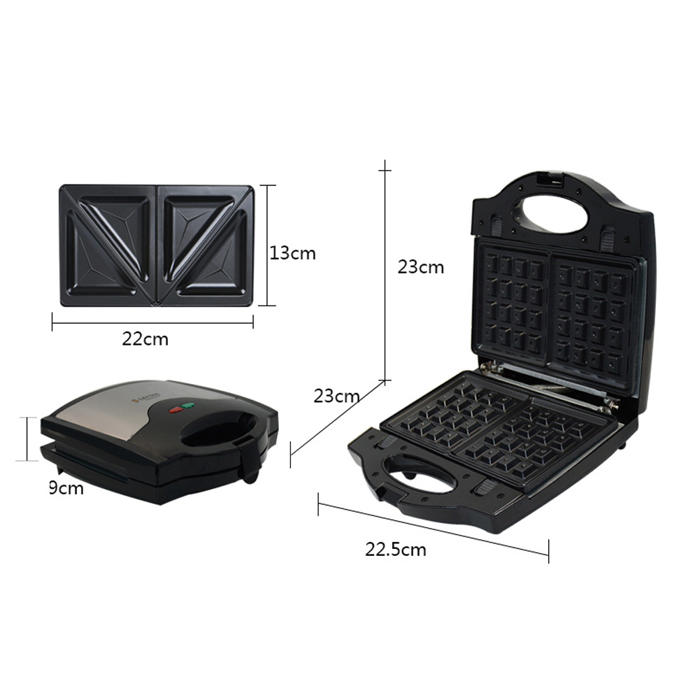Waffle Maker, Sandwich Grill, 800-Watts, 3-in-1 Detachable Non-stick Coating, LED Indicator Lights, Cool Touch Handle