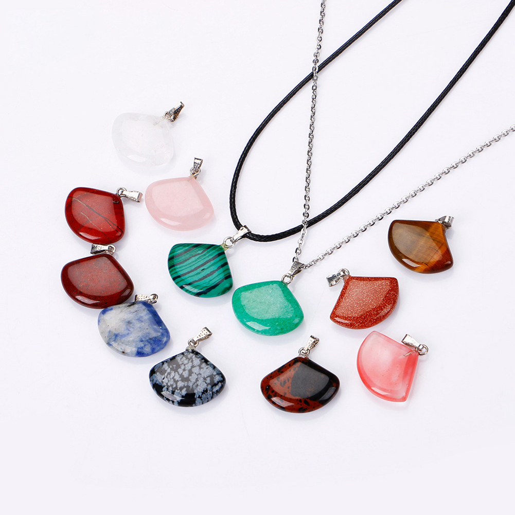 10pcs Natural Stone Pendants Charms Jade Turquoise Stone Shell-Shape Pendants for Necklace Jewelry Making