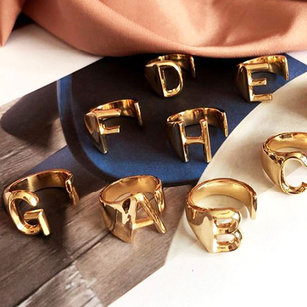 New Fashion Unisex Gold Adjustable Alphabet A- Z Letter Wide Chunky Ring Jewelry Gift