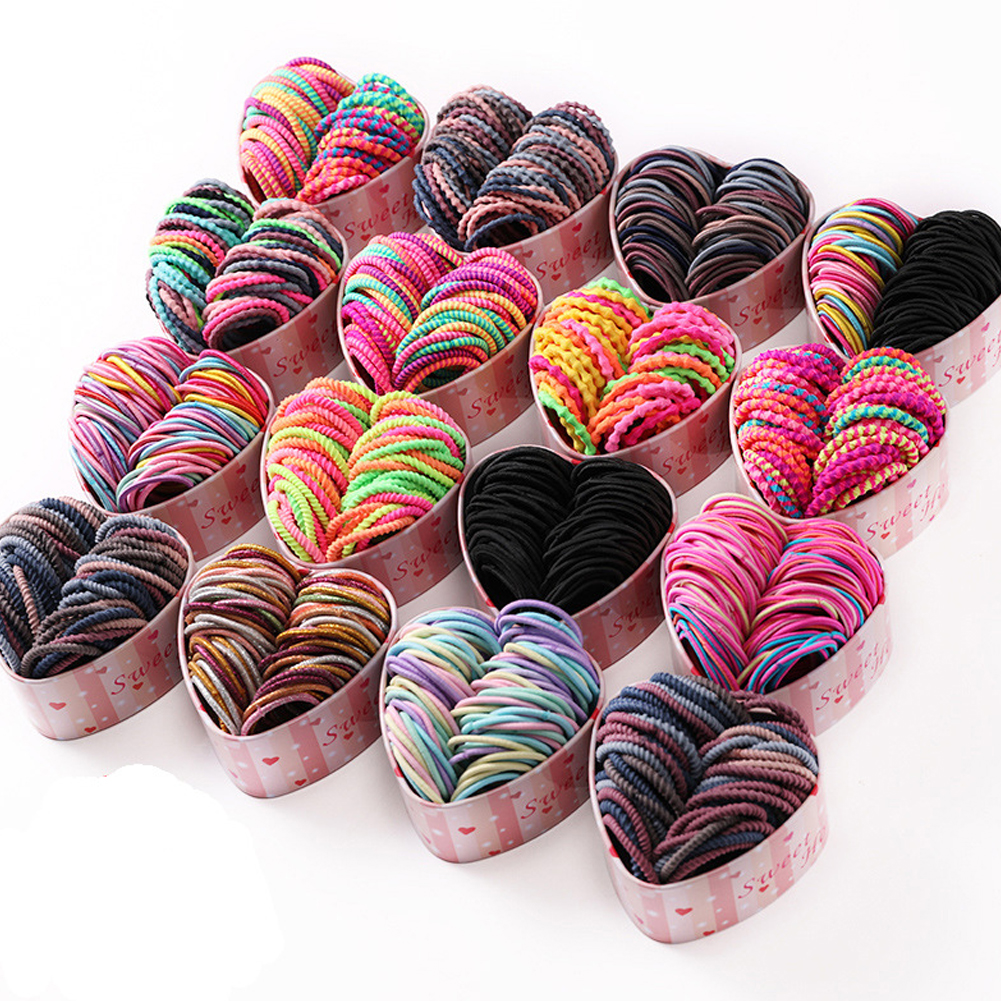 50PCS/Box Women Colorful Basic Elastic Hair Bands Girls Colorful Hair Accessories Kids Ponytail Holder Hair Ropes