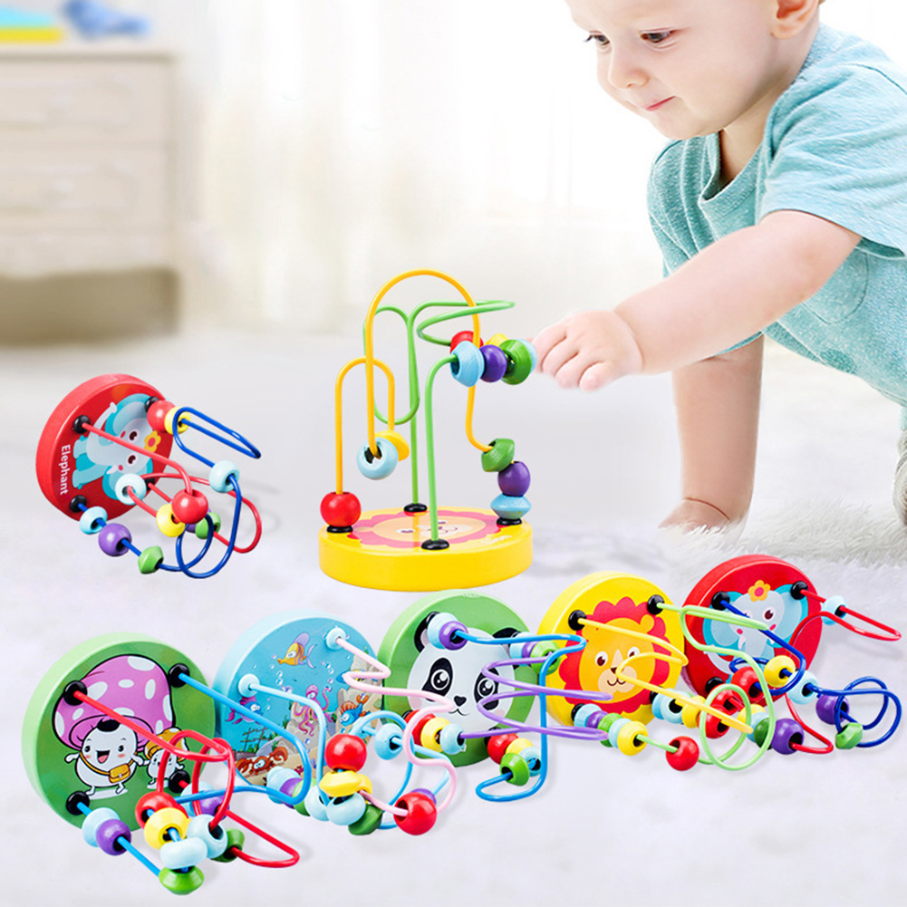Baby Wooden Toys Wooden Circles Bead Wire Maze Roller Coaster Educational Wood Puzzles Boys Girls Gifs