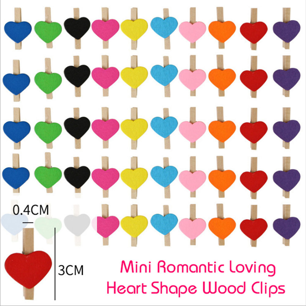 20Pcs Mini Wooden Love Heart Pegs 3cm DIY Paper Photo Clips Clothespin Craft Postcard Clips Home Wedding Decoration