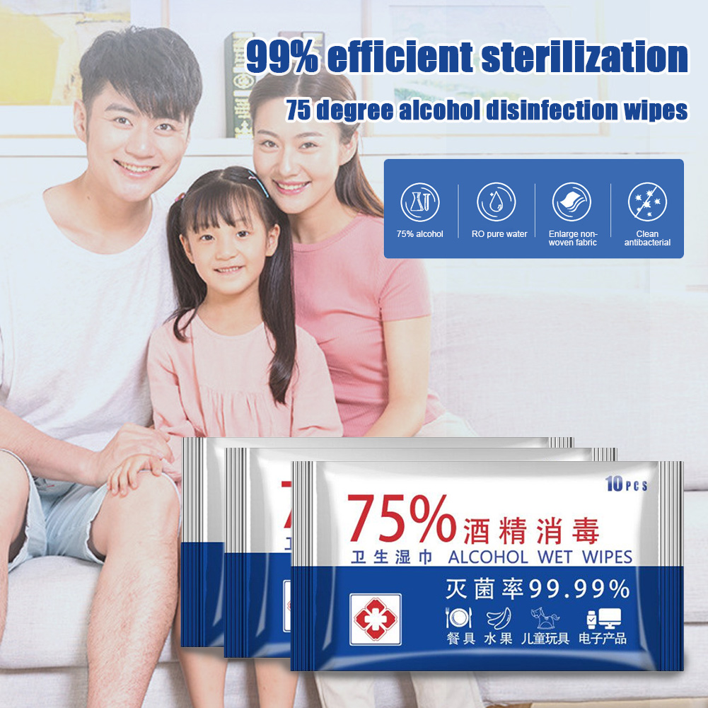 10sheets/Pack Portable 75% Alcohol Wet Wipes Antiseptic Cleaning Sterilization Wipes Wet Wipes