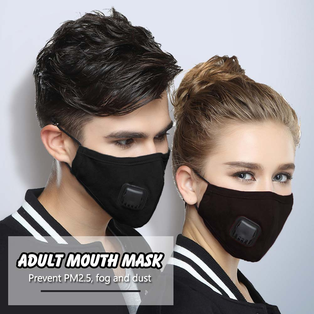 Adults PM2.5 Cotton Mouth Mask with Breath Valve Filter Papers Anti-Dust Anti Pollution Mask Cloth Activated Carbon Filter Respirator 2Pcs Filter Papers