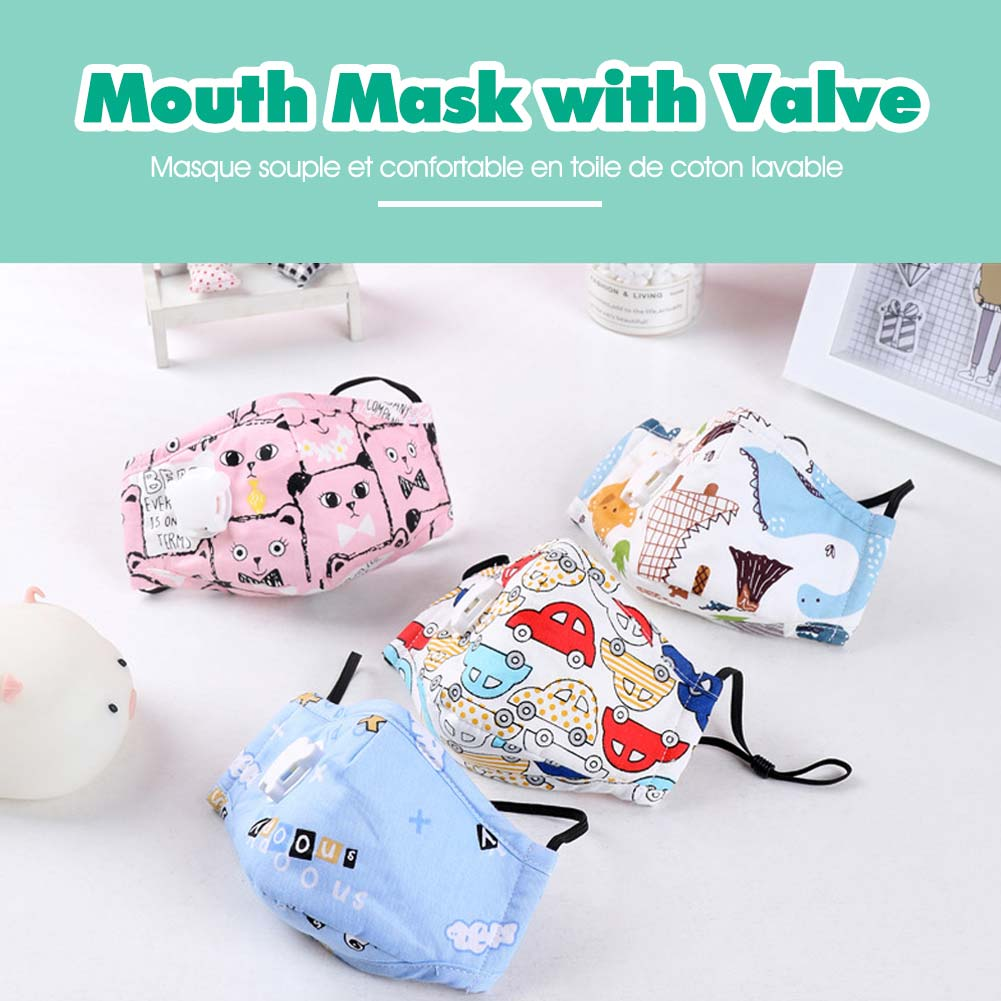 Kids PM2.5 Cotton Mouth Mask with Breath Valve Filter Papers Children Anti-Dust Anti Pollution Mask Cloth Activated Carbon Filter Respirator 1Pc Filter Paper