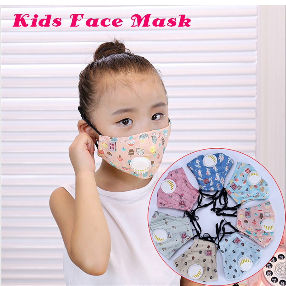 Kids PM2.5 Mouth Mask with Breather Valve Children Dustproof Anti-Haze Cotton Face Mask with Respirator