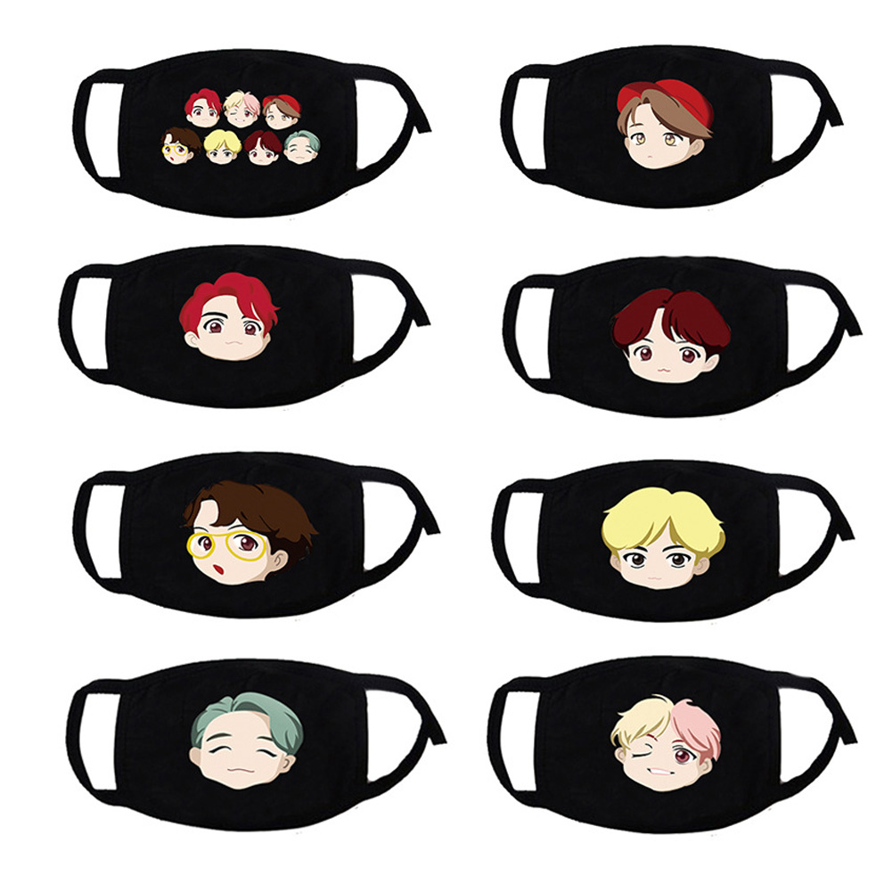 KPOP BTS Mouth Mask Cute Anime Cartoon Character Cotton Face Mask Fan Club Supply