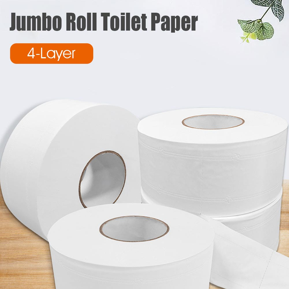 1 Roll Jumbo Roll Toilet Paper 4-Layer Soft Wood Pulp Toilet Paper Home Rolling Paper Strong Water Absorption
