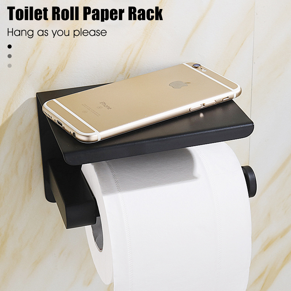 Creative Toilet Paper Holder with Shelf Black Wall Mounted Mobile Phone Paper Towel Holder Decorative Bathroom Roll Paper Holder