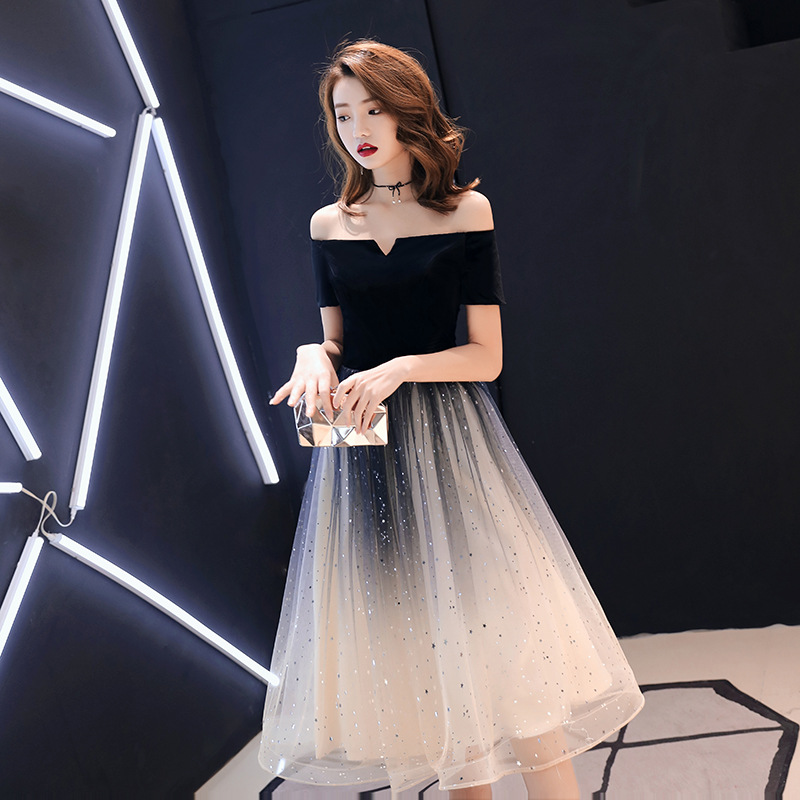 Off Shoulder Small Dress Simple Show Thin Medium Long Party Evening Dress