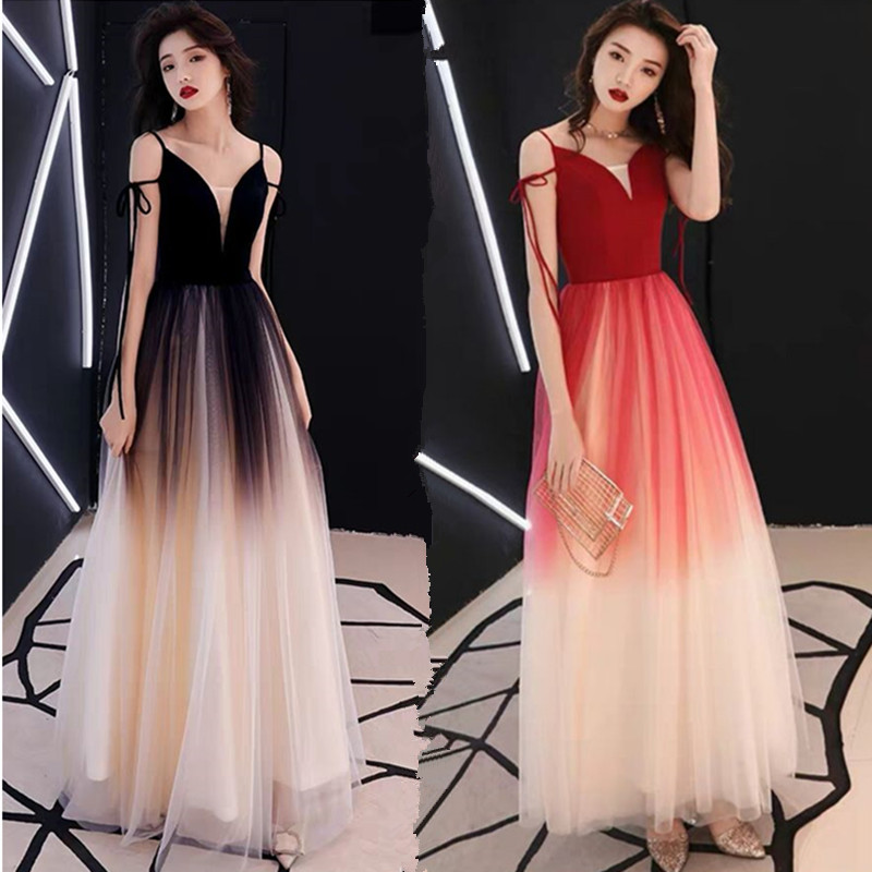 Evening Dress Female Long Section Annual Host Ladies Party Dress Noble Elegant Thin Dress
