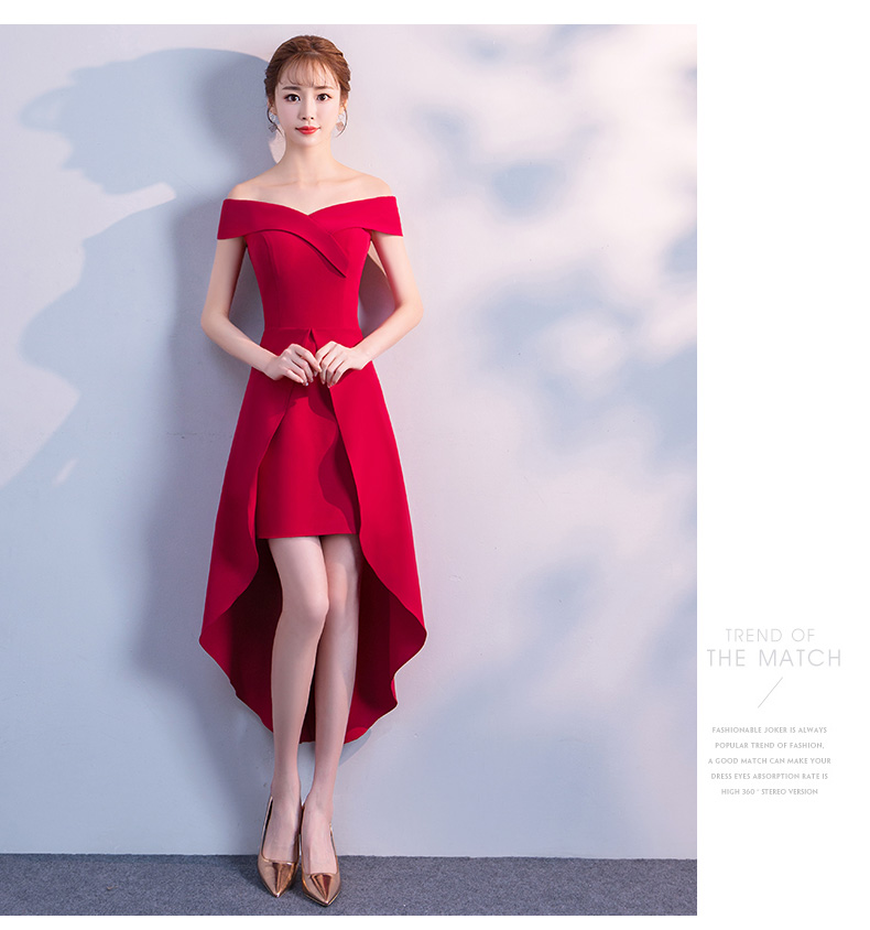 Toast Dress New Wedding Dress Banquet Engagement One Shoulder Evening Dress Skirt