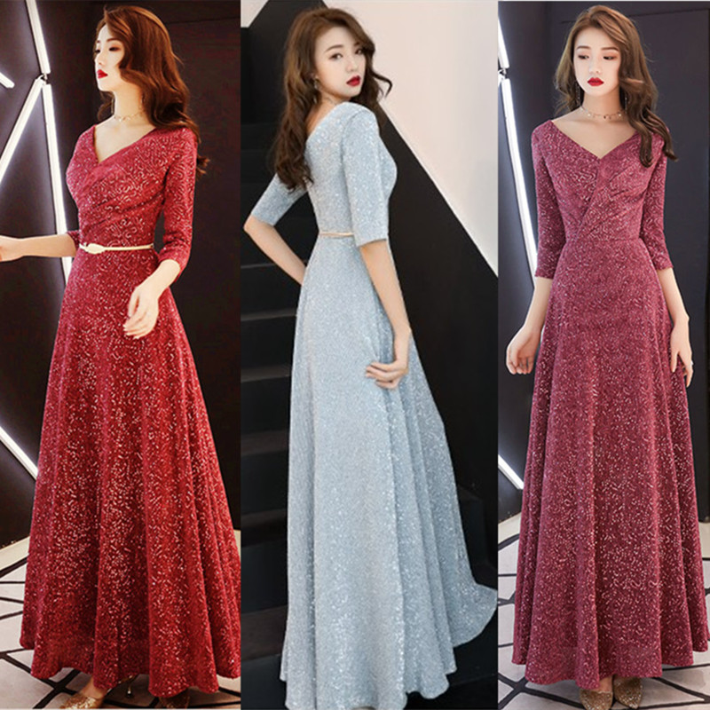 Banquet Evening Dress Women New Long Style Celebrity Host Dress Elegant Annual Meeting Thin Long Dress