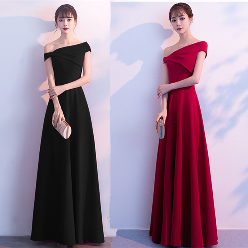 Toast Bride New One Shoulder Long Thin Wedding Thank You Evening Dress Long Dress